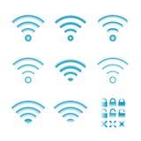 Satz drahtlose Ikonen des Vektors für wifi Fernsteuerungszugang und Funkverbindung Stockfoto