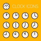 Satz dreizehn Vektor Minimalistic-Linie Art Geometric Black und weiße runde Uhr-Zeit-Ikonen Lizenzfreie Stockbilder