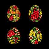 Satz Eier wird mit einem Blumenmuster gemalt Russischer Staatsangehöriger s Lizenzfreies Stockbild