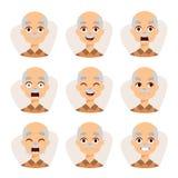 Satz eines Designillustrations-Großvatervektors der Gefühle des alten Mannes einfachen flachen Stockfotos