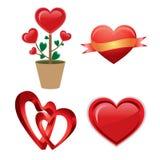 Satz eines roten Valentinsgrußherzens Stockbild