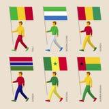 Satz einfache flache Leute mit Flaggen von afrikanischen Ländern Lizenzfreies Stockbild