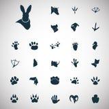 Satz einfache Tierikonen Stockbilder