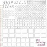 Satz einfache Vektorelemente zum Puzzlespiel Schablonen von verschiedenen Größen und von Formen Prämie farbiges Alphabet Stockfoto