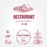 Satz einfarbige Restaurantaufkleber und -Gestaltungselemente der Weinlese Stockfotografie