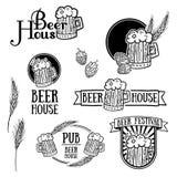 Satz einfarbige Retro- Logos der Weinlese, Ikonen Stockfoto