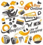 Satz Einkaufsikonen, -zeichen und -symbole lizenzfreie abbildung