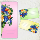 Satz Einladungskarten mit Aquarellblume Lizenzfreies Stockfoto