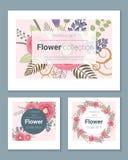 Satz Einladungskarten mit bunten Blumen 4 Stockfotografie
