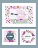 Satz Einladungskarten mit bunten Blumen 6 Lizenzfreie Stockbilder