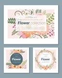 Satz Einladungskarten mit bunten Blumen 2 Stockbild