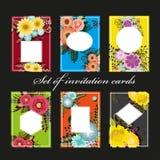 Satz Einladungskarten mit bunten Blumenelementen Lizenzfreies Stockbild
