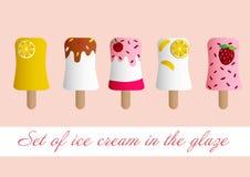 Satz Eis creame in einer Glasur Stockbilder