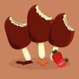 Satz Eiscreme in der Schokolade Lizenzfreie Stockfotos