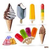 Satz Eiscreme und Eis am Stiel Stockfotos