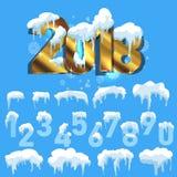 Satz Eiskappen Schneewehen, Eiszapfen, Elementwinterdekor Stockbilder