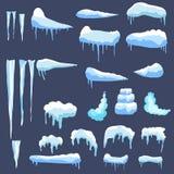 Satz Eiskappen Schneewehen, Eiszapfen, Elementwinterdekor Stockbild