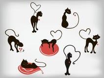 Satz elegante Katzen mit Herzen für Valentinsgruß-Tag Abbildung des Vektor EPS10 Stockfoto