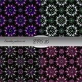 Satz elegante nahtlose Muster mit Blumen- und Mandalaelement stock abbildung