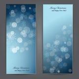 Satz elegante Weihnachtsfahnen mit Schneeflocken. Lizenzfreies Stockbild