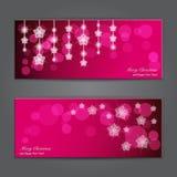 Satz elegante Weihnachtsfahnen mit Sternen. Stockfotos