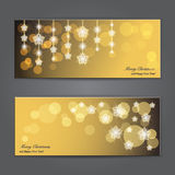 Satz elegante Weihnachtsfahnen mit Sternen. Stockfotografie