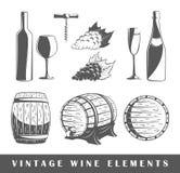 Satz Elemente des Weins Stockfotos