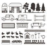 Satz Elemente für Bauernhof Wirtschaftsgebäude, Tiere Stockbilder