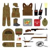 Satz Elemente für die Jagd in der flachen Art Stockbild