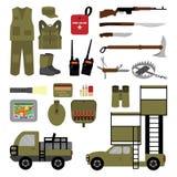 Satz Elemente für die Jagd in der flachen Art Lizenzfreie Stockbilder
