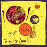 Satz Elemente für ein Menü in einem Café, Restaurant Hand gezeichneter Bogen Stockbilder