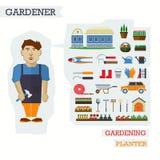 Satz Elemente für Gartenbau mit Gärtner Stockfoto