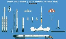 Satz Elemente für Raumthema modernes Weltraumprogramm Rakete, Trägerrakete, Satelitte, Abschussrampe, Nutzlast flug Vektor Abbildung