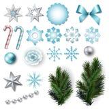 Satz Elemente für Weihnachten und neues Jahr entwerfen Lizenzfreie Stockfotos
