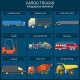 Satz Elementfrachttransport: LKWs, Lastwagen für die Schaffung Lizenzfreie Stockfotos