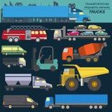 Satz Elementfrachttransport: LKWs, Lastwagen für die Schaffung Stockbild