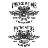 Satz Embleme mit geflügelten Motoren der Weinlese Gestaltungselement für Logo, Aufkleber, Emblem, Zeichen, Plakat, T-Shirt lizenzfreie abbildung