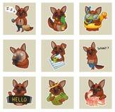 Satz emotionale Aufkleber von netten Hunden Lizenzfreie Stockfotos