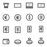 Satz Entwurfsanschlag Einkaufsikonen Vector Illustration Stockbilder