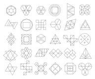 Satz Entwurfshippie-Logos und -Gestaltungselemente Stockbilder