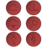 Satz Entwurfsikonen auf rotem Kreis, Knöpfe, Bänder Stockbilder