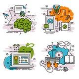 Satz Entwurfsikonen des E-Learnings lizenzfreie abbildung