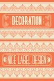 Satz Entwurfsrahmen, -embleme und -ausweise Abstrakte Hippie-Logoschablonen Monolinie Grafikdesignschablonen Stockfoto