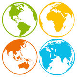 Satz Erdplanetenkugel-Logoikonen für Netz und APP Stockfotografie