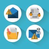 Satz Erscheinung und Schutzangriffsikonen des Einschmelzen Cyberverbrechenvirus digitale Stockbild