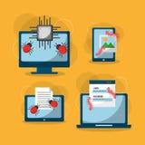 Satz Erscheinung und Schutzangriffsikonen des Einschmelzen Cyberverbrechenvirus digitale Stockbilder