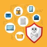 Satz Erscheinung und Schutzangriffsikonen des Einschmelzen Cyberverbrechenvirus digitale Lizenzfreies Stockbild