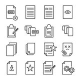 Satz erstklassige Dokumentenikonen in der Linie Art stock abbildung