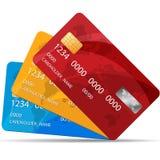 Satz erstklassige Kreditkarten Auch im corel abgehobenen Betrag 3 Farben von Kreditkarten Lizenzfreies Stockbild
