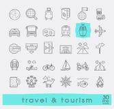Satz erstklassige Qualitätslinie Reise und Tourismusikonen Lizenzfreies Stockbild